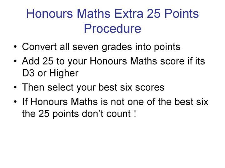 Honours Maths Extra 25 Points Procedure
