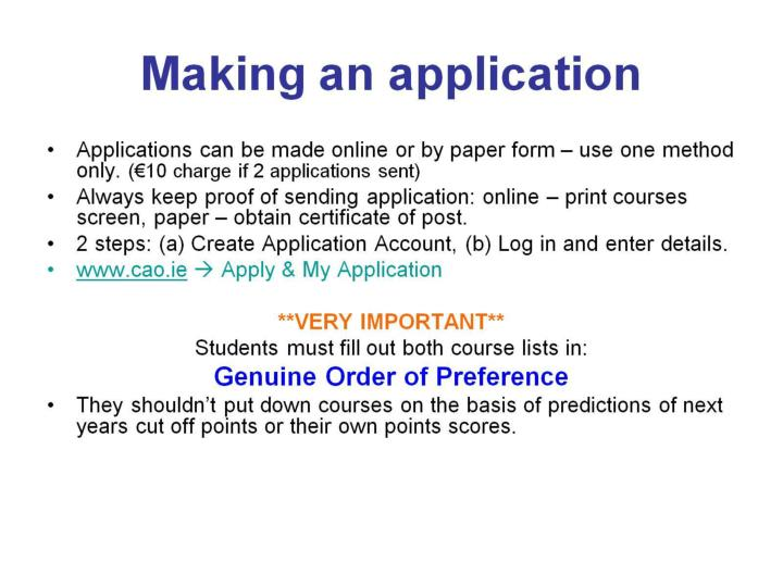Making an application