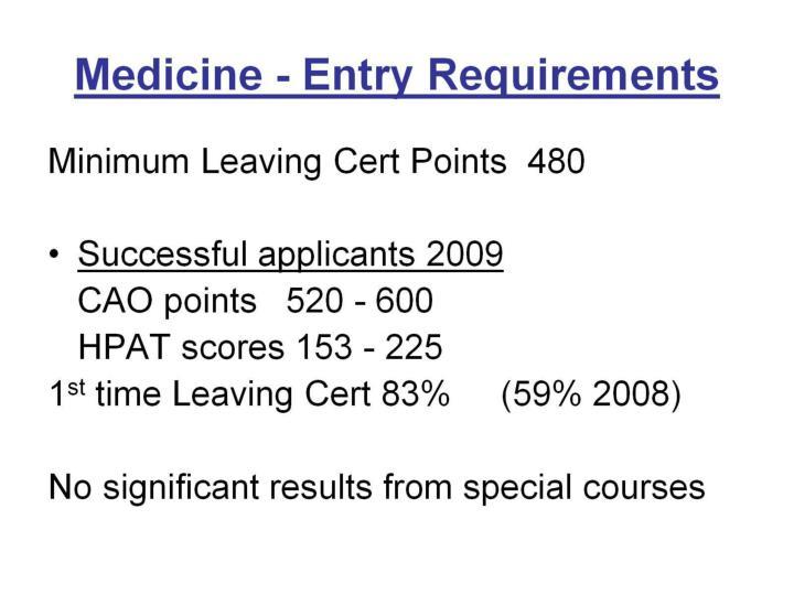 Medicine - Entry Requirements