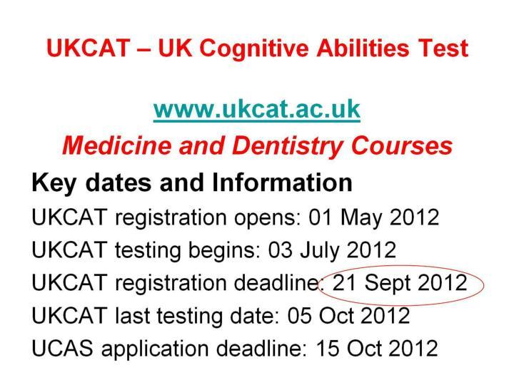 UKCAT – UK Cognitive Abilities Test