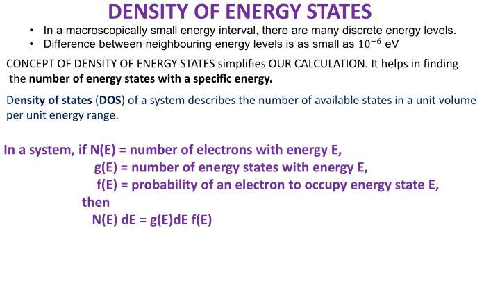 DENSITY OF ENERGY STATES