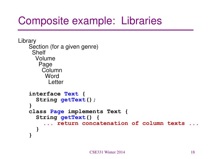 Composite example:  Libraries