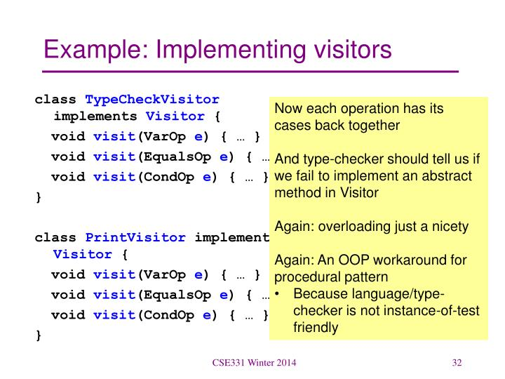 Example: Implementing visitors