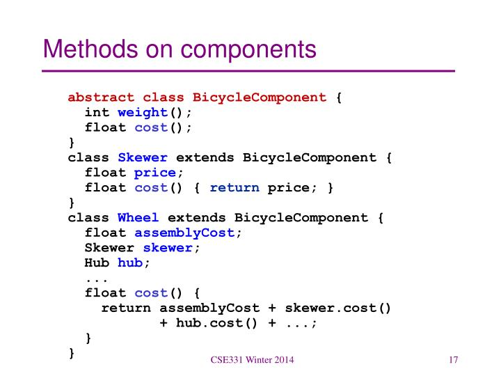 Methods on components