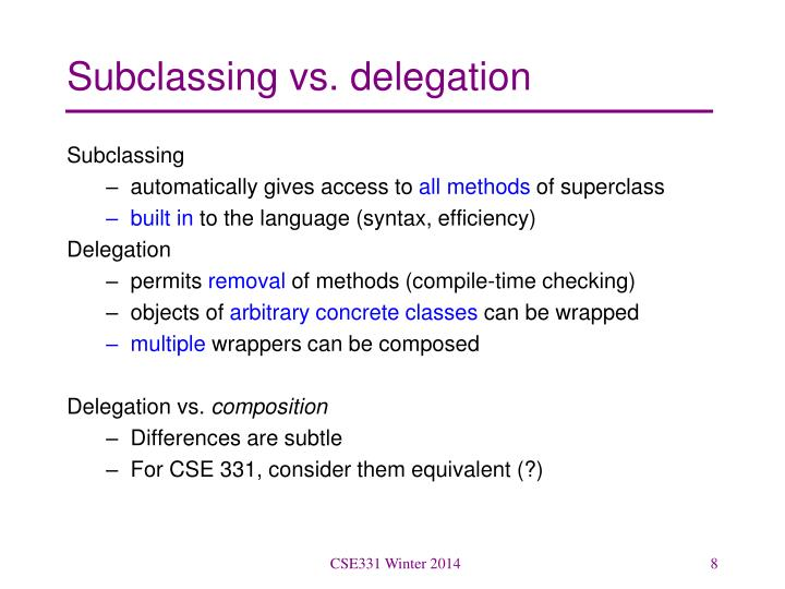Subclassing vs. delegation