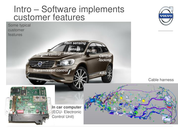 Intro software implements customer features