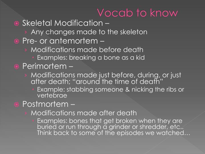 Vocab to know