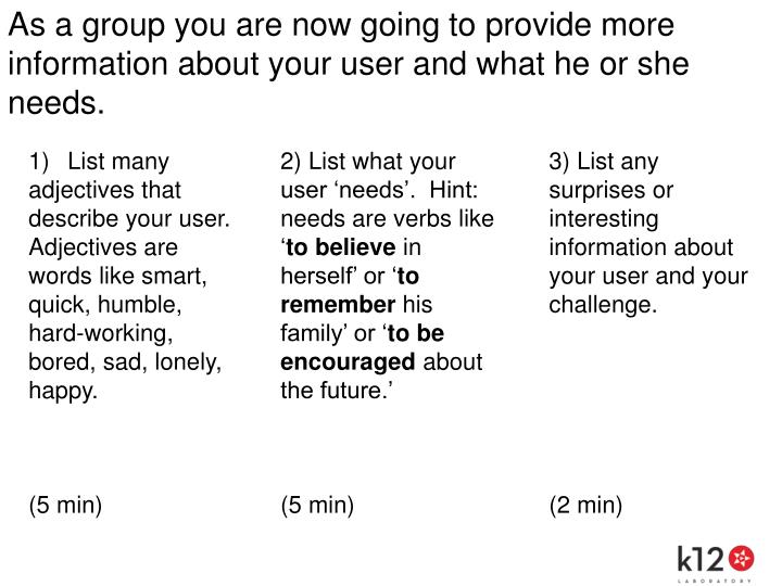 As a group you are now going to provide more information about your user and what he or she needs.