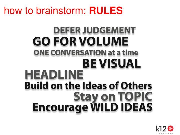 how to brainstorm: