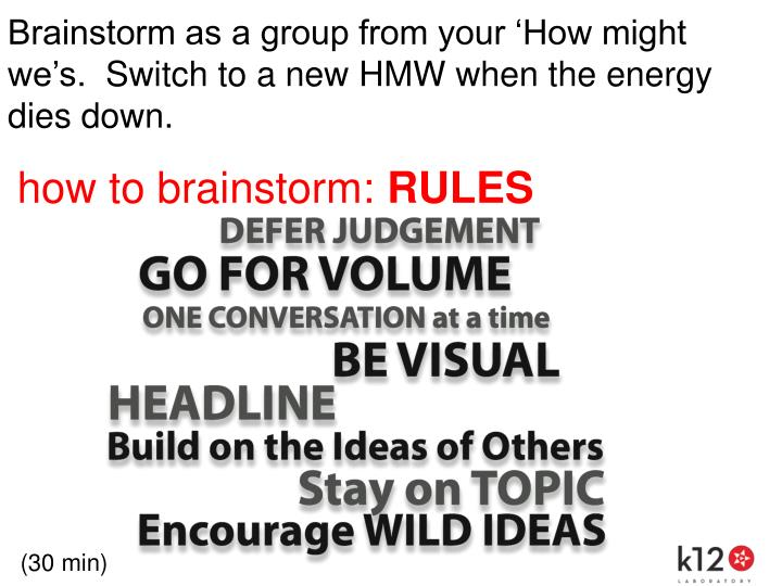 Brainstorm as a group from your 'How might