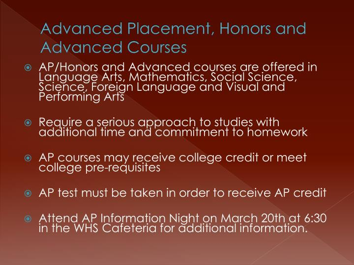 Advanced Placement, Honors and Advanced Courses