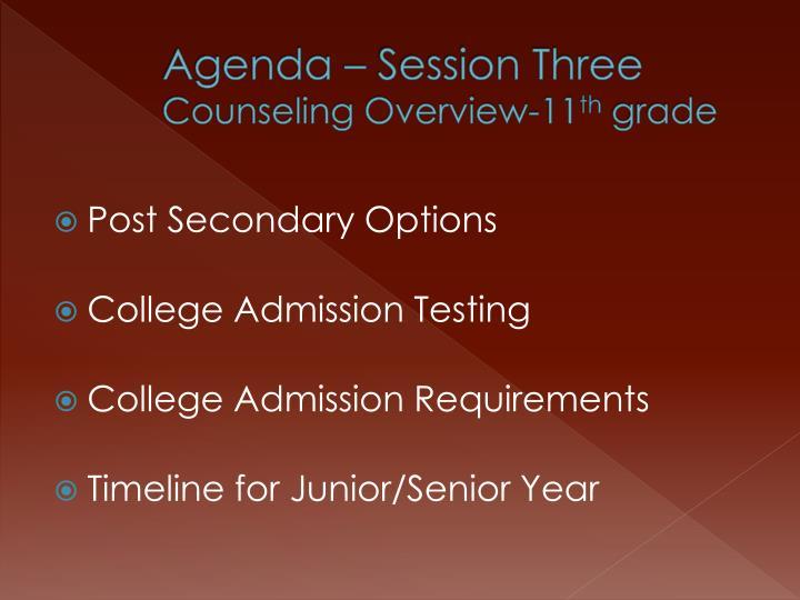 Agenda – Session Three