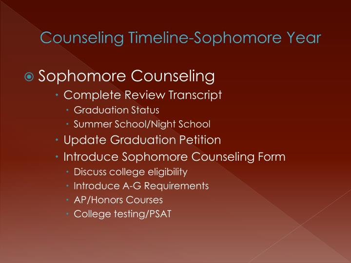 Counseling Timeline-Sophomore Year