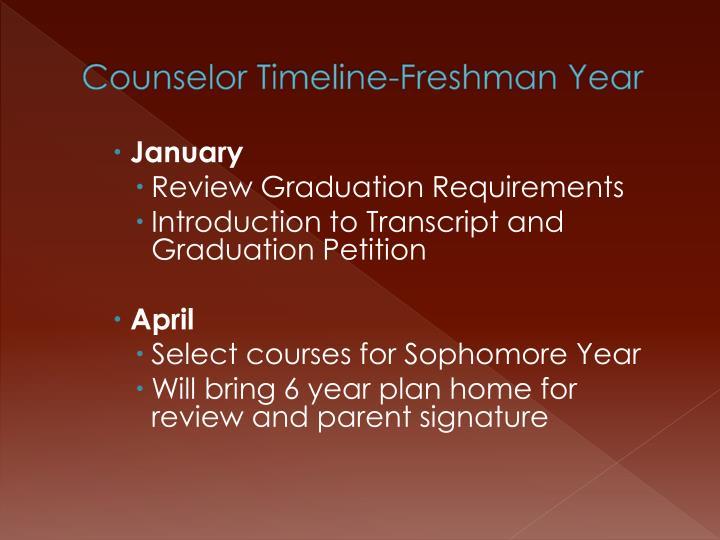Counselor Timeline-Freshman Year