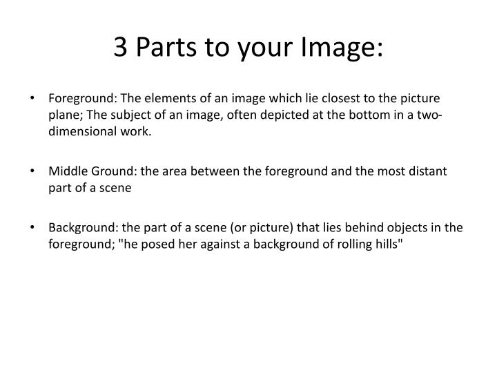 3 Parts to your Image: