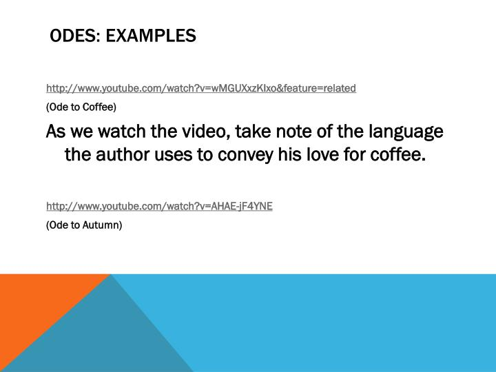 Odes examples