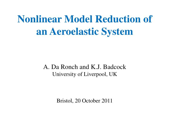 Nonlinear Model Reduction of an