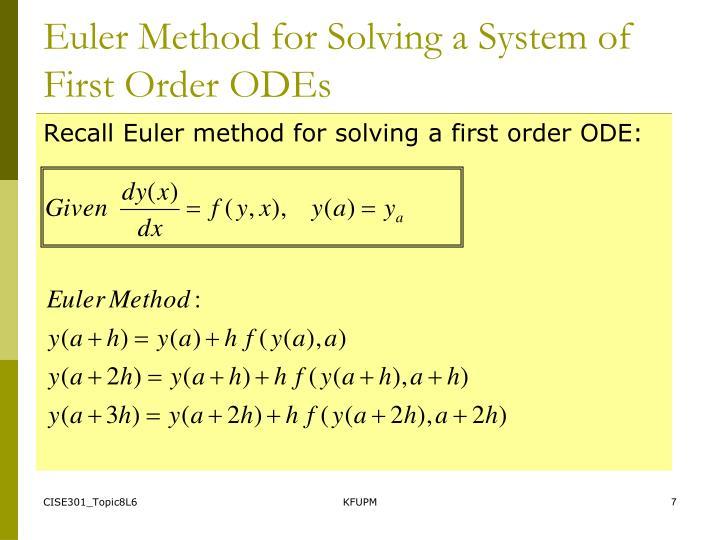 Euler Method for Solving a System of First Order ODEs