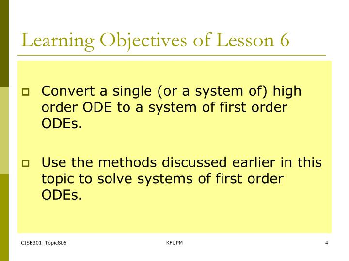 Learning Objectives of Lesson 6