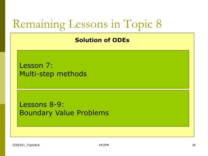 Remaining Lessons in Topic 8