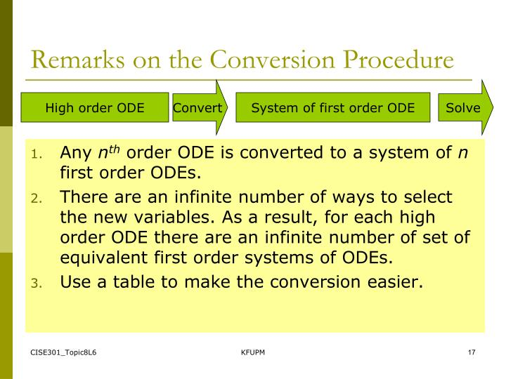 Remarks on the Conversion Procedure