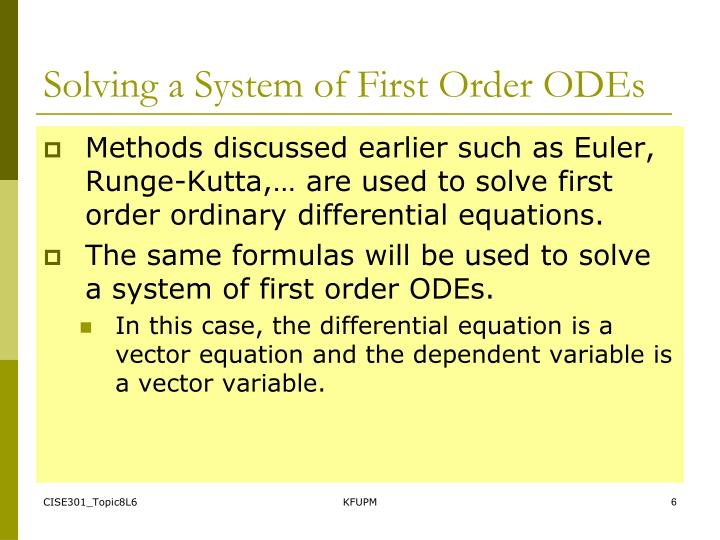 Solving a System of First Order ODEs