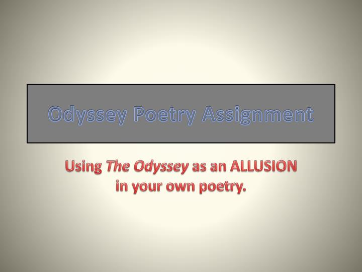 Odyssey poetry assignment