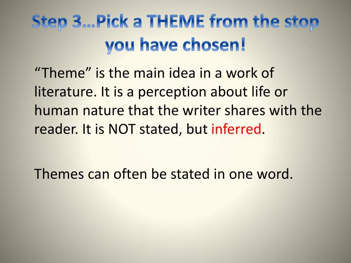 Step 3…Pick a THEME from the stop you have chosen!