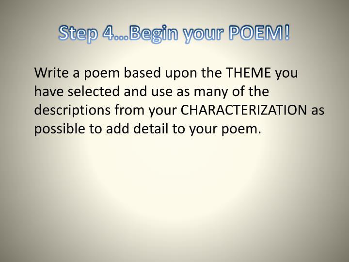Step 4…Begin your POEM!
