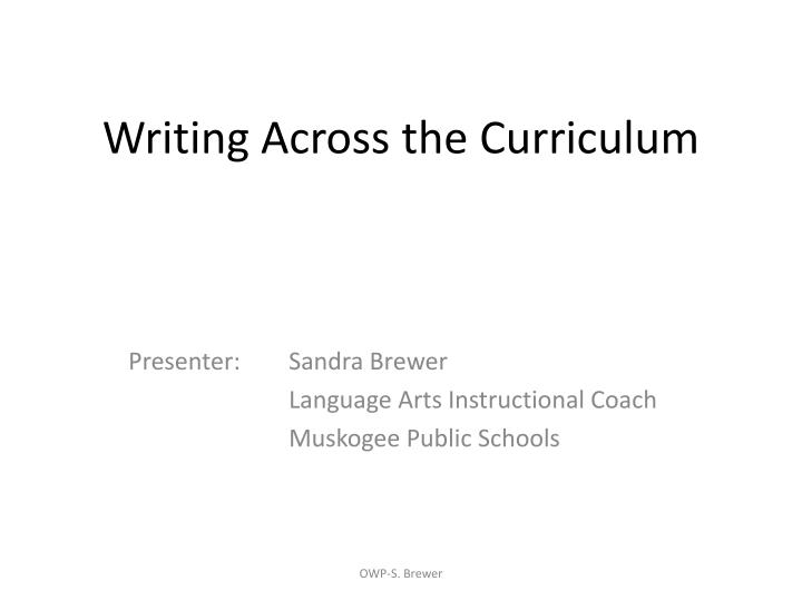 writing across the curriculum n.