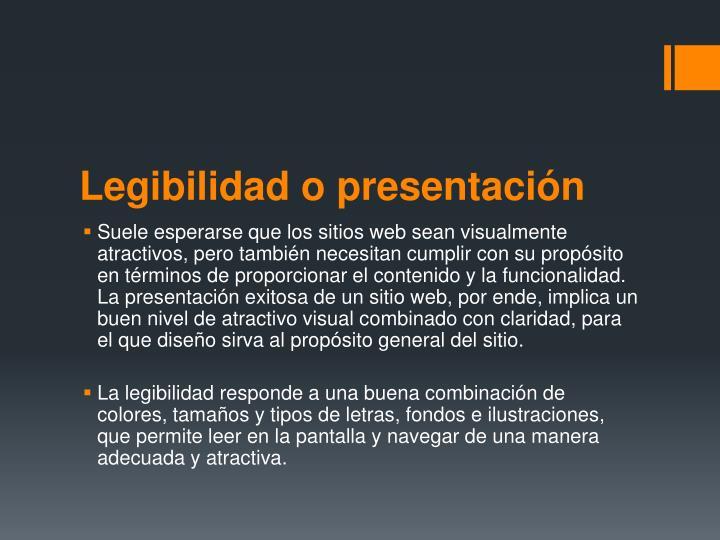 Legibilidad o presentación