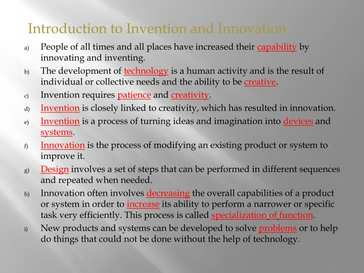 Introduction to Invention and Innovation