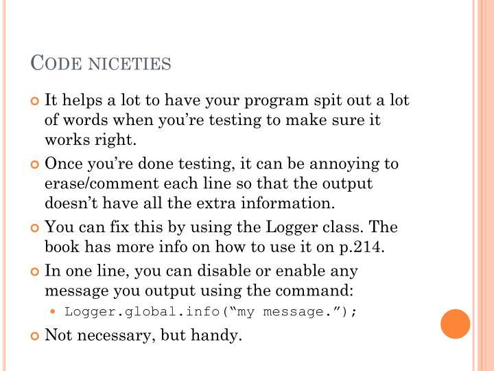 Code niceties
