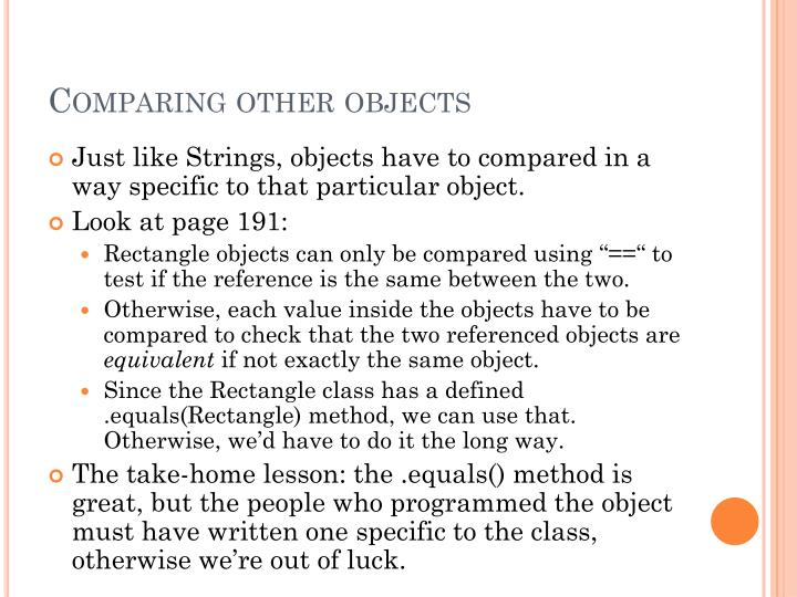 Comparing other objects
