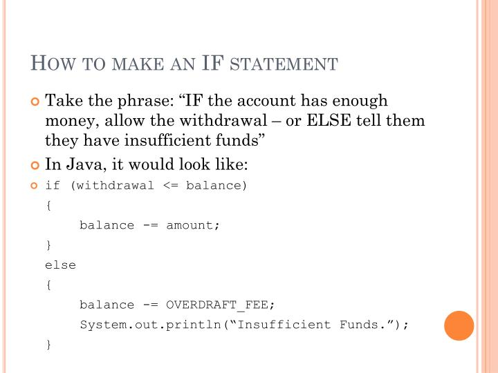 How to make an if statement