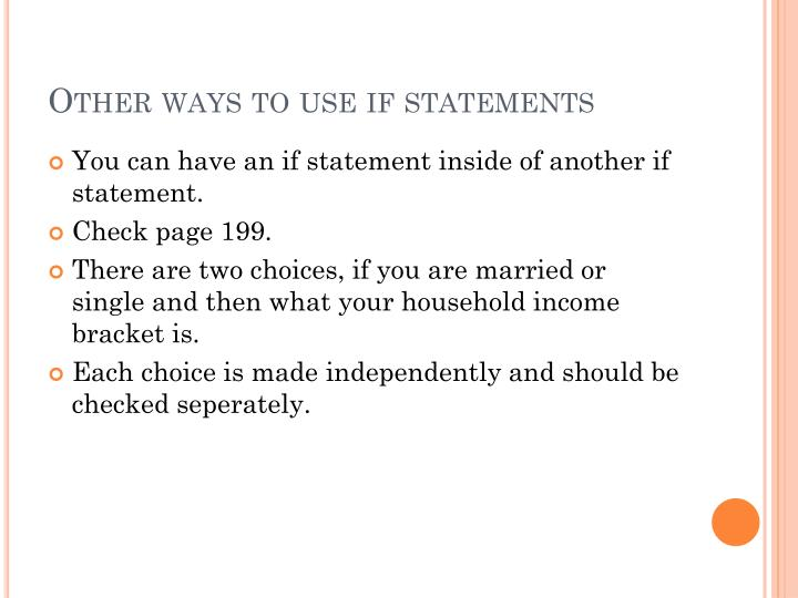 Other ways to use if statements