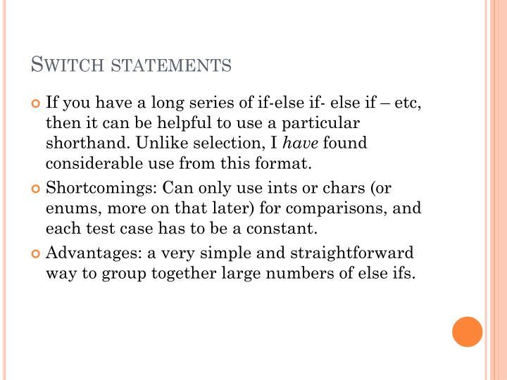 Switch statements