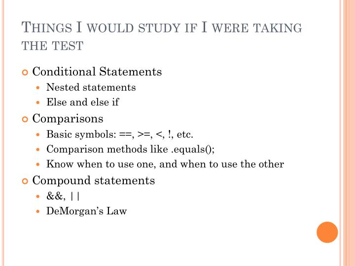 Things I would study if I were taking the test