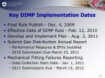 key dimp implementation dates