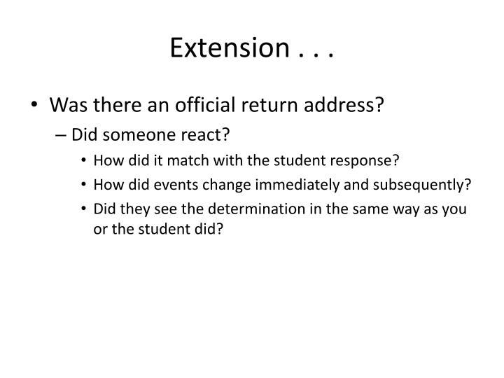 Extension . . .