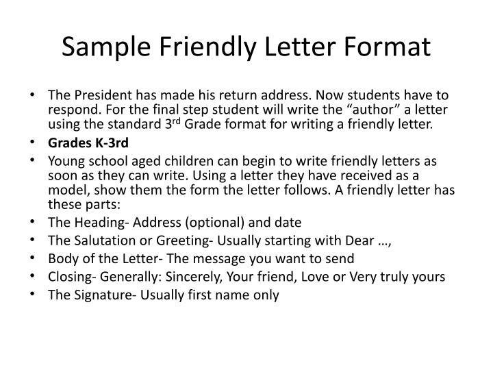 Sample Friendly Letter Format