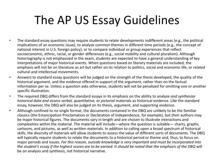 The AP US Essay Guidelines