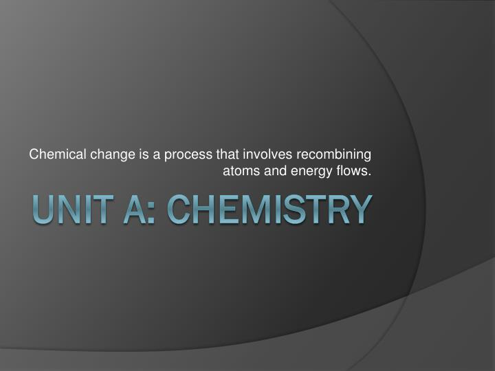 chemical change is a process that involves recombining atoms and energy flows