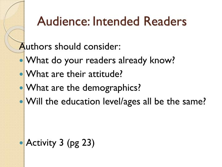 Audience: Intended Readers