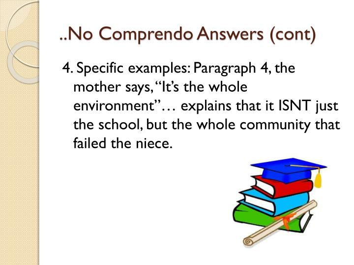 No comprendo answers cont