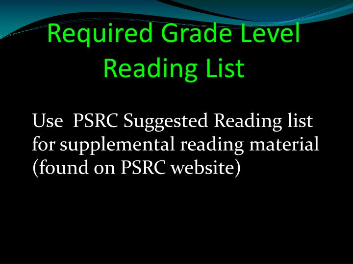 Required Grade Level Reading List