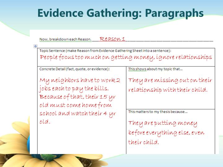 Evidence Gathering: Paragraphs