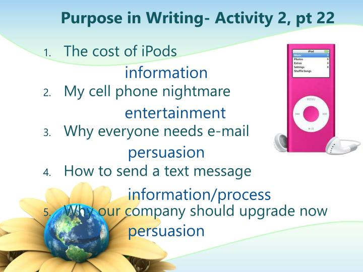 Purpose in Writing- Activity 2, pt 22