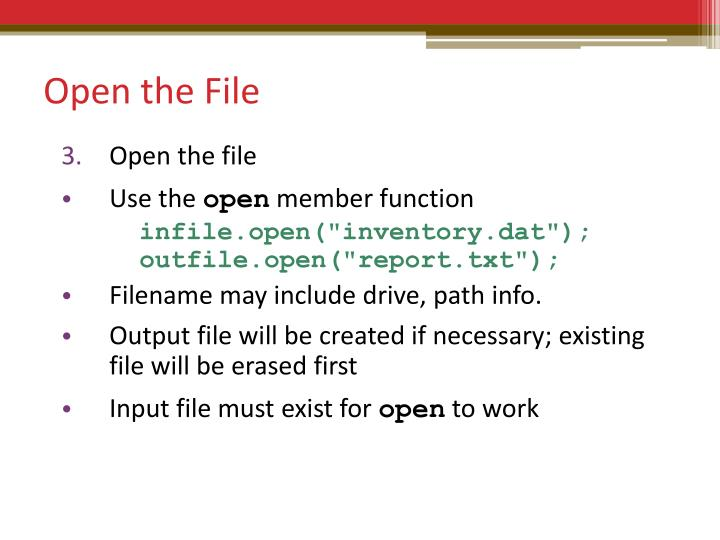 Open the File