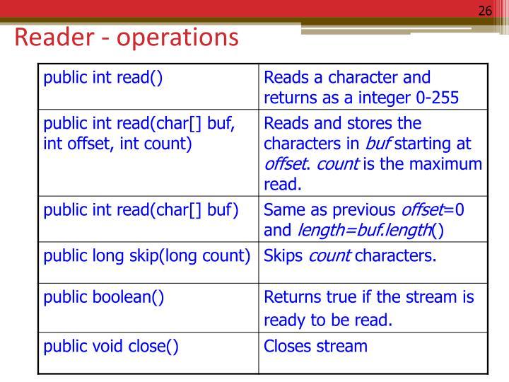 Reader - operations